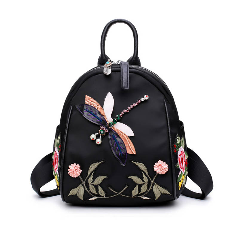 National Wind Embroidery Flower Black Backpack For Teenager Handmade Diamond Dragonfly Decoration Shoulder Bag Small Back Pack a three dimensional embroidery of flowers trees and fruits chinese embroidery handmade art design book