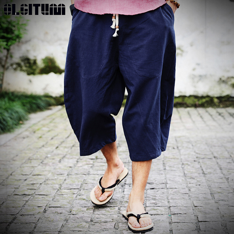 Harem Pants Trousers Linen Drawstring Cropped Chinese-Style Male Cotton Casual And Summer