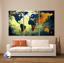 3 Piece World Map Canvas Painting Wall Modular Picture For Living Room Classical Europe Type Watercolor decoration Print