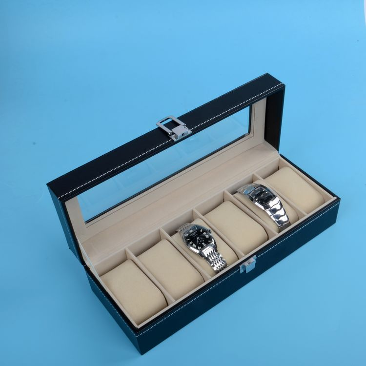Fashionable Jewelry Watches Storage Box Organizer With 6 Grids And Clear  Glass Window