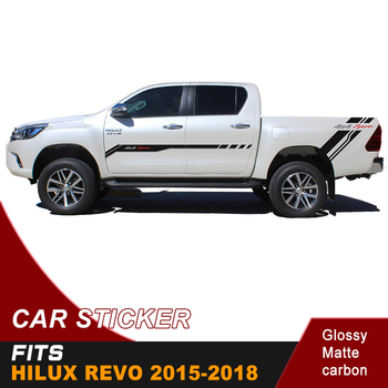 2pcs free shipping hilux racing side stripe pickup boxbed graphic Vinyl 4x4 car sticker for TOYOTA HILUX revo and vigo 2012-2018