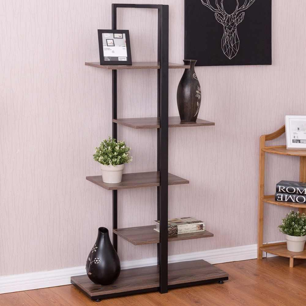 "Goplus 5 Tiers Bookcase 60"" Modern Open Concept Display Etagere Living Room Shelf Bookshelf Storage Display Furniture HW56037"