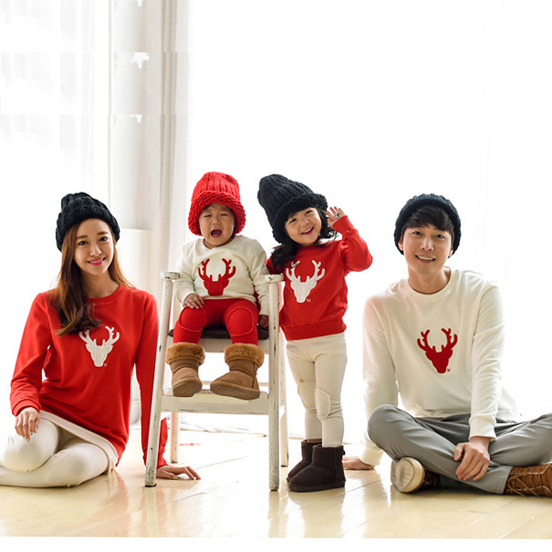 2018 Christmas Family Look Deer Mommy Me Clothes Matching Family Outfit Mother Daughter Mom Son Father Baby Sweatshirt red white