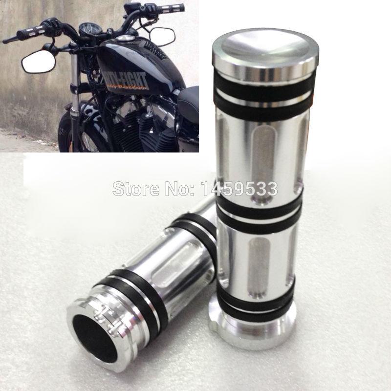 Silver 1 Handle Bar Hand Grip Metal CNC Deep Cut For Harley Touring Sportster Custom Free