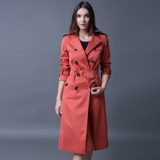 Europe Loose Long Trench Coat For Women 2016 Long Sleeve Double Breasted Plus Size Brick Red Coat Female Luxury Pea Coat Gift