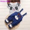 Malayu Baby 2016 Children's Set Summer Fashion Style Set Children's Striped Panda Short Sleeve T-Shirt + Strap Shorts Sport Set