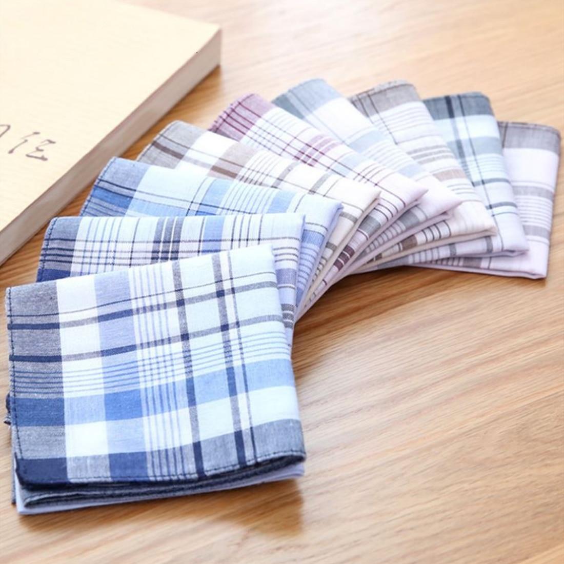 10Pcs/lot 38*38cm Comfortable Cotton Handkerchief Classic Plaid Pattern Comfort Vintage Square Handy Pocket Women Men For Gifts