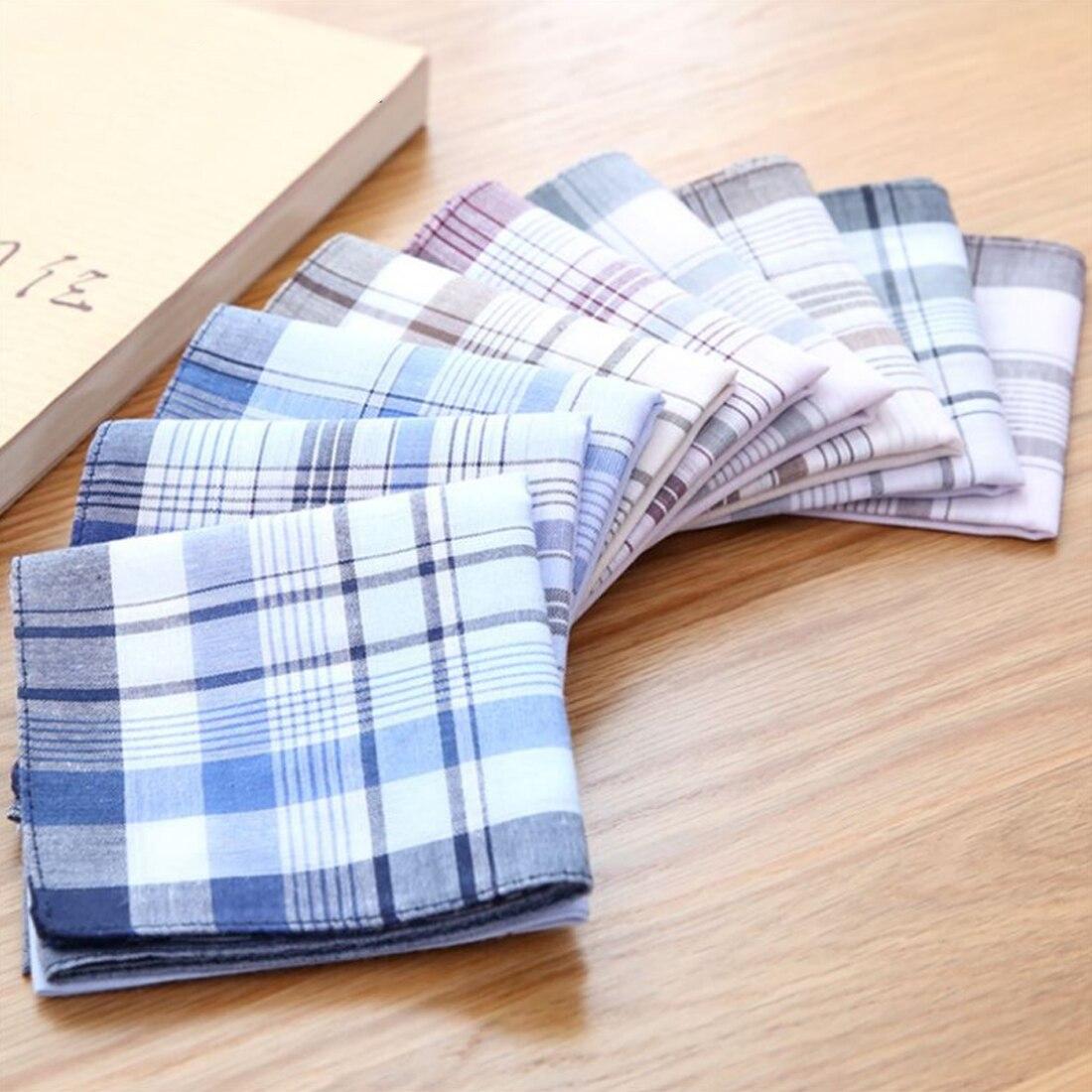10Pcs/lot 38*38cm New Cotton Handkerchief Classic Plaid Pattern Comfort Vintage Square Handy Pocket Women Men For Gifts