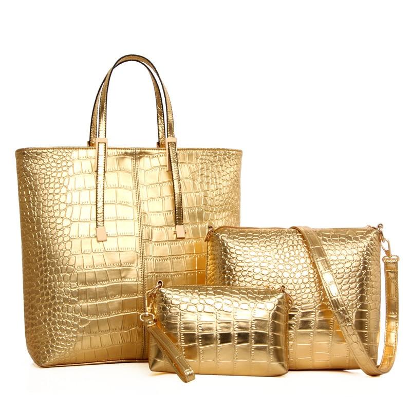Femmes sacs à main ensemble 2019 PU cuir Crocodile sacs femmes sacs à main trois pièces emballage