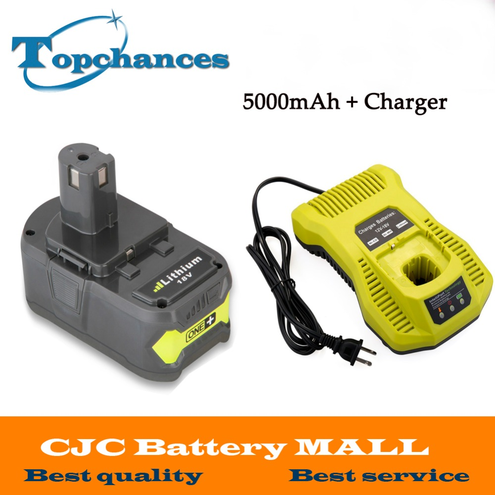 Newest 12-18V Charger+18V 5000mAh Li-Ion For Ryobi Hot P108 RB18L40 Rechargeable Battery Pack Power Tool Battery Ryobi ONE+ factory price binmer hot selling usb cable charger for 18650 rechargeable li ion battery power adapter drop shipping