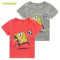 2 t-7 t algodão de manga curta camisas de t para meninos dos desenhos animados camisetas de verão 2016 novos das crianças dos desenhos animados spongebob meninos camisa tsp401