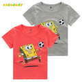 2T-7T Cotton Short Sleeve T Shirts For Boys Cartoon T-Shirts 2016 summer new children's cartoon SpongeBob boys shirt TSP401