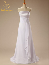 Bealegantom Sexy White Beach Chiffon Wedding Dresses 2017 Appliques Bridal Gowns Vestidos De Novia  In Stock Size 2-16 QA1006
