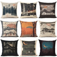 New Hot Selling Retro Snow Mountain Fores Cushion Cover Decorative Sofa Throw Pillow Car Chair Home Decor Case almofadas