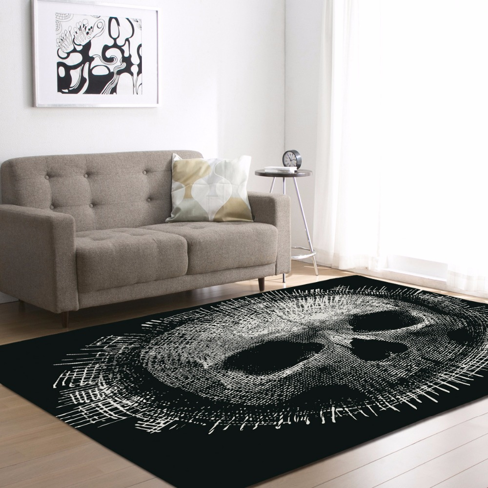 Personality 3D Skull Flannel Velvet Memory Foam Larger Carpet Play Game Mats Baby Craming Bed Living Room Area Rug Bedside Rugs