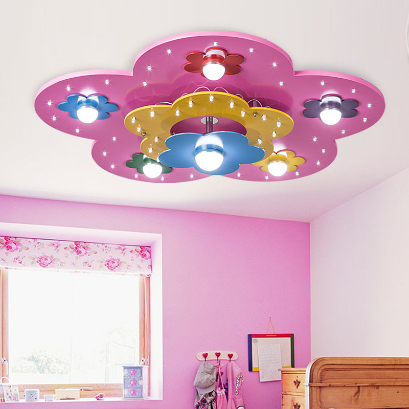 For childrens room colorful flower shape decorative lights high for childrens room colorful flower shape decorative lights high quality environmental wooden kids modern led ceiling light in ceiling lights from lights mozeypictures Image collections