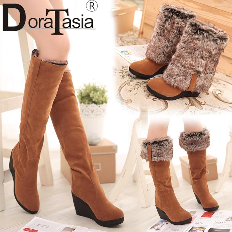 DoraTasia 34-43 Winter 3 Styles Fur Boots Ladies High Heels Platform Knee High Snow Boots Women 2019 Warm Fur Wedge Shoes Woman