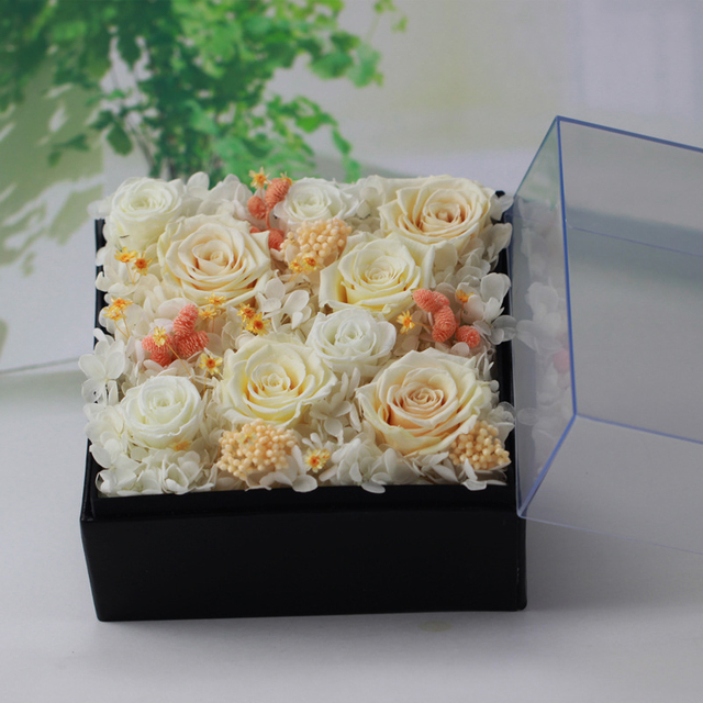 The White Fresh Preserved Rose Flower Real Touch Flowers For Home ...