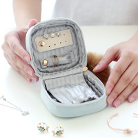 Cloth art Princess jewelry organizer Portable square jewelry box travel Earring ring bag necklace pouch Lipstick box girl's Gift