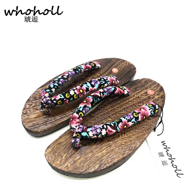 WHOHOLL Geta Summer sandals women Japanese geta female flip-flops lady wooden slippers clogs flat wooden shoes summer slippers. whoholl geta women flat sandals japanese wooden geta floral printed clogs shoes for women flip flops slippers indoor home slides