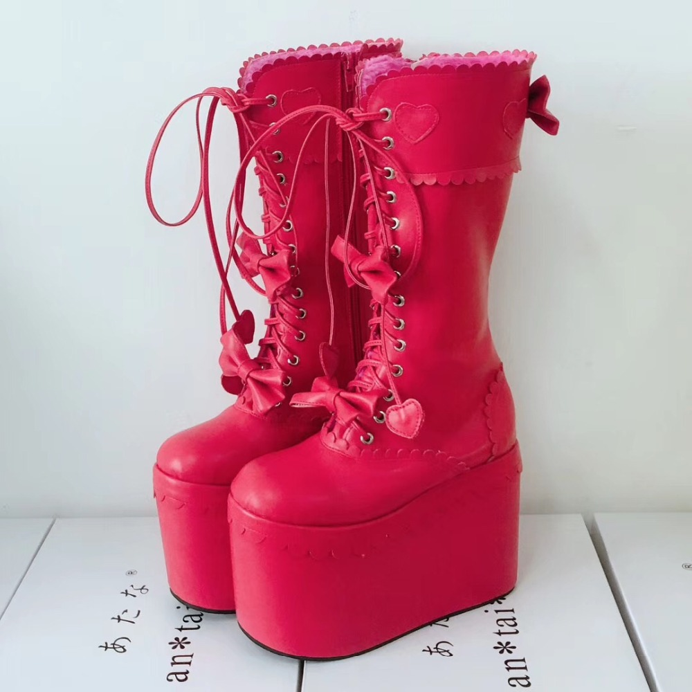 Sexy-Women-Winter-Knee-High-13cm-High-Platform-Party-Lace-Up-Lolita-Boots-Side-Zip-Bowknot-PU-Leather-Lolita-Show-Boots-Warm-12