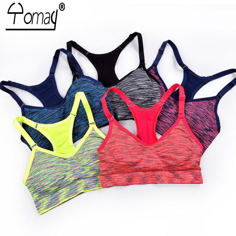 Yomay women Sports Bras Fitness Sports Bra Top Shockproof Shapes Quick Dry Running Gym Adjustable Underwear push up Yoga Bra Top