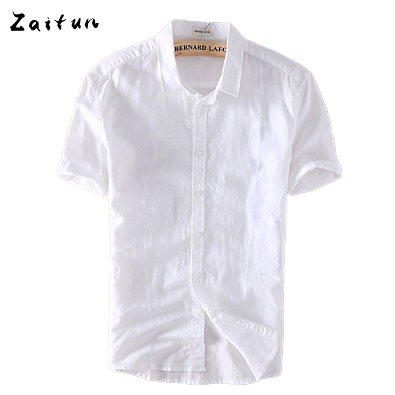 Zaitun White Men Casual Cotton Linen Shirt Men Summer