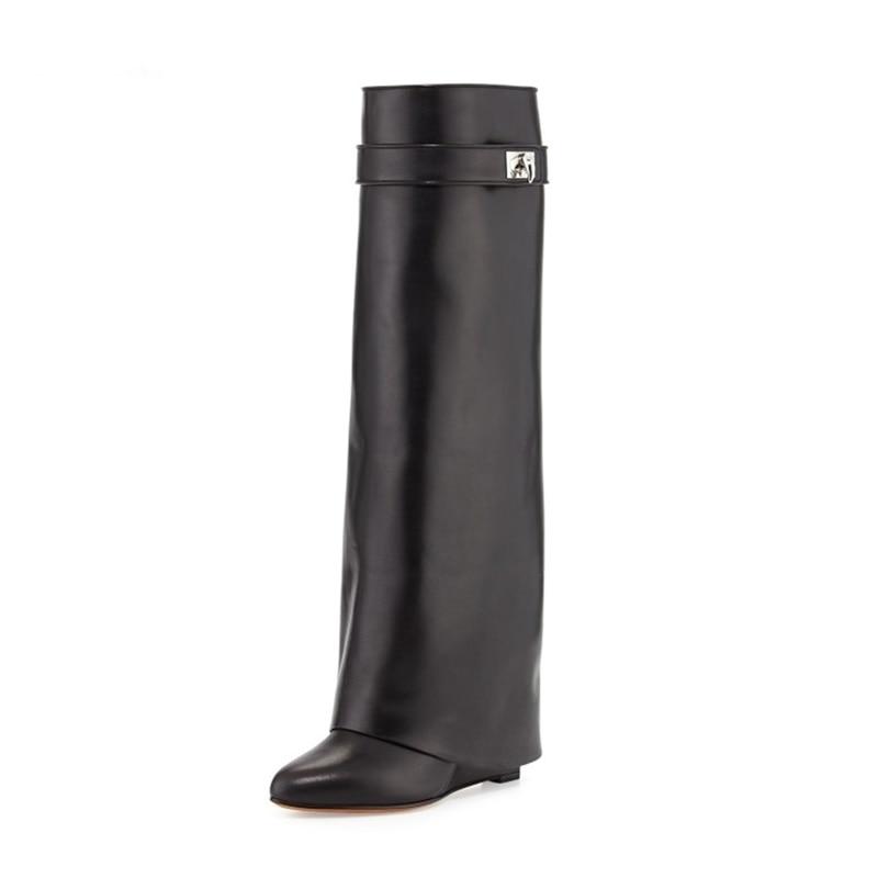 Cuero negro Shark Lock Wedge Botas hasta la rodilla Vueltas zapatos - Zapatos de mujer
