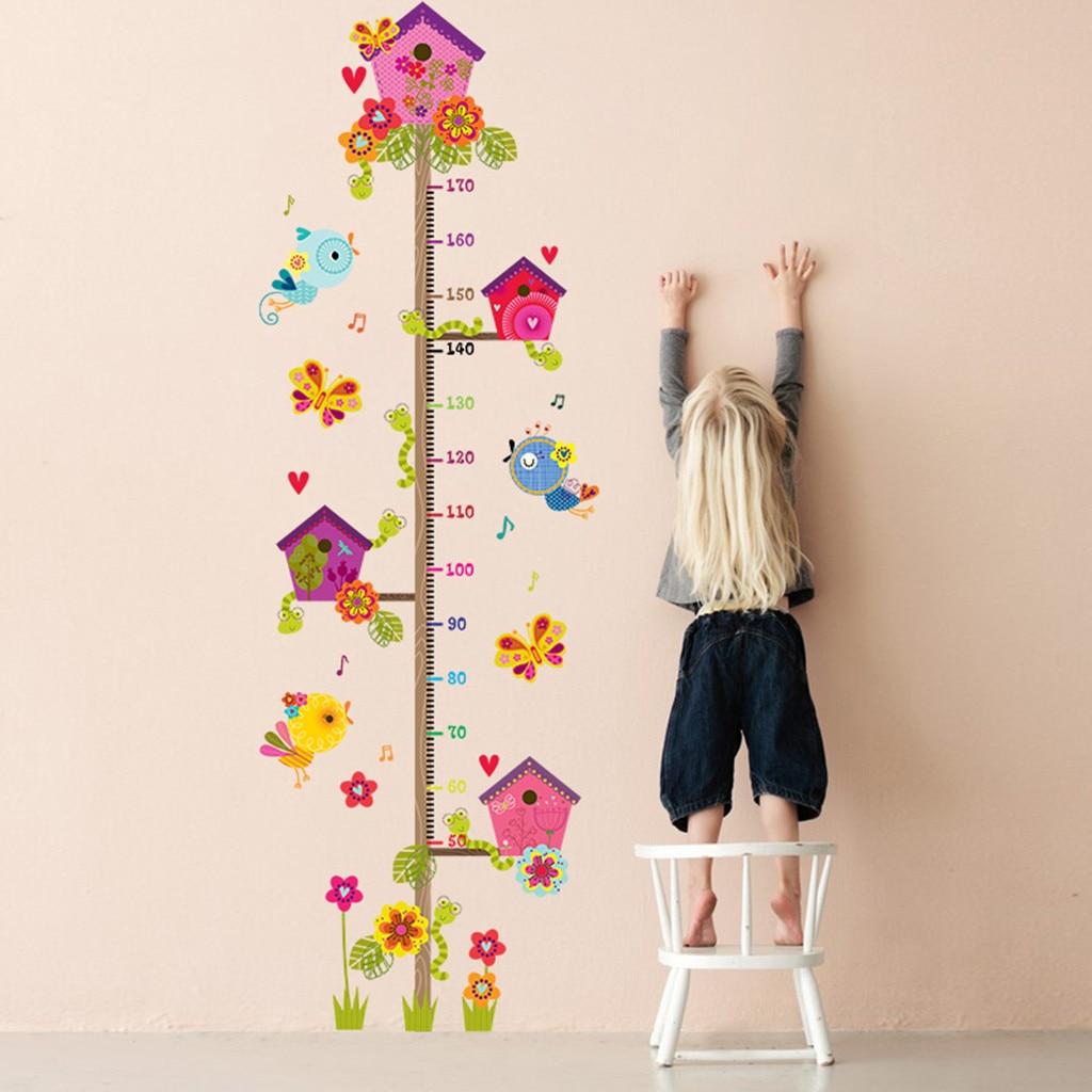 Wallpaper Sticker Happy Detachable Waterproof Cartoon Animal House Measuring Height Wall Sticker For Kids Rooms L0604
