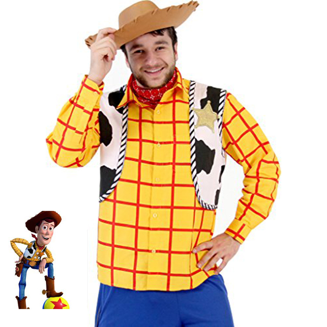 sheriff woody shirt toy story costume movie cosplay adult cowboy striped button down up halloween fancy
