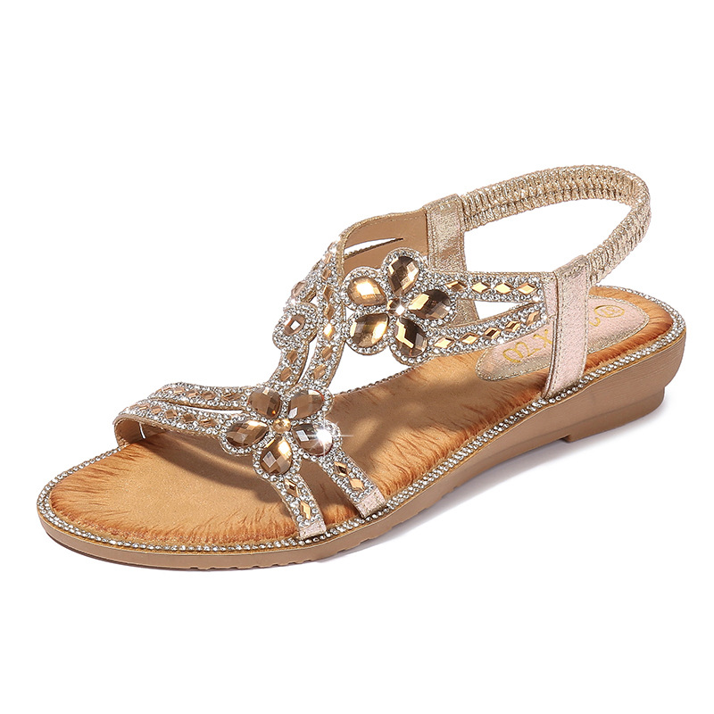 Women Sandals Summer Style Bling Rhinestone Fashion Dating thick bottom versatile bohemian beach slip sandals Gladiator shoes in Middle Heels from Shoes