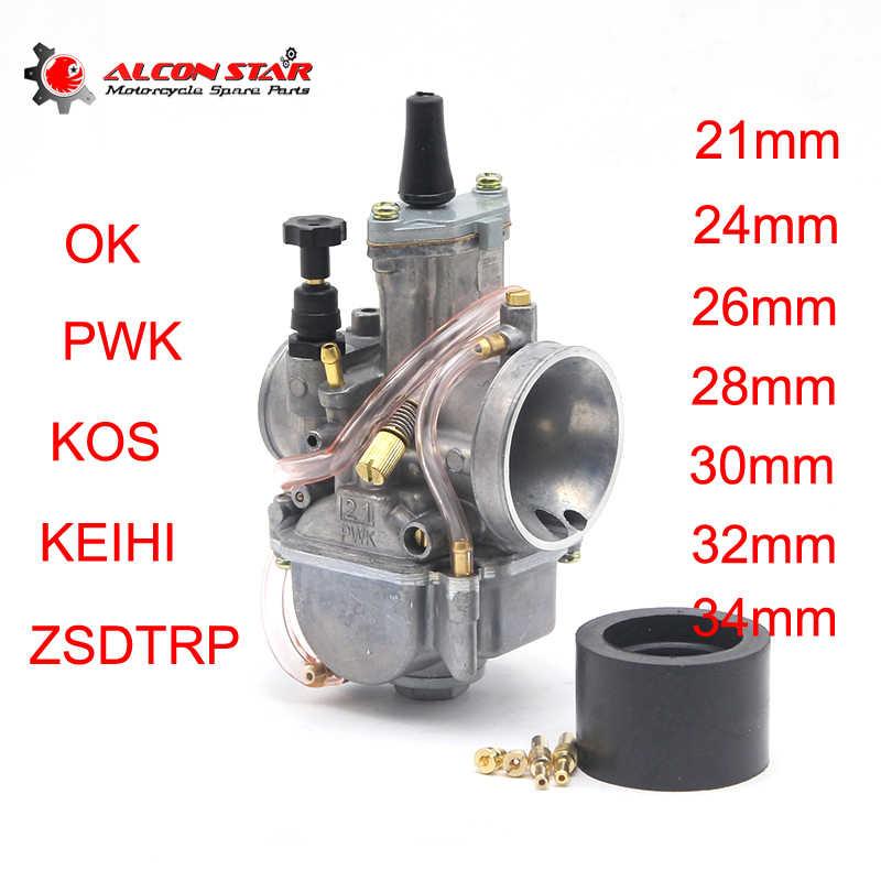 Alconstar PWK 21mm 24mm 26mm 28mm 30mm 32mm 34mm pour 2T 4T Moto carburateur de course Koso OKO Keihi avec Jet de puissance