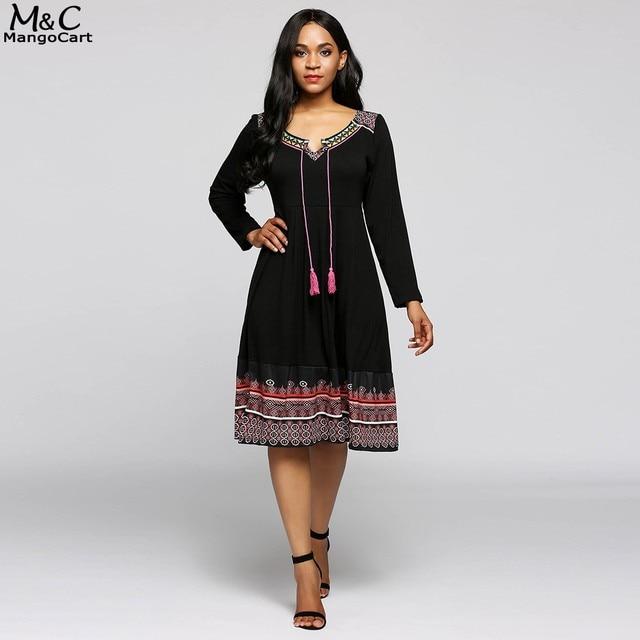 Fanala vestido de otoño mujer manga larga casual Vestidos moda Notch collar  paridosty Vestidos impreso Boho 1866ba653e92