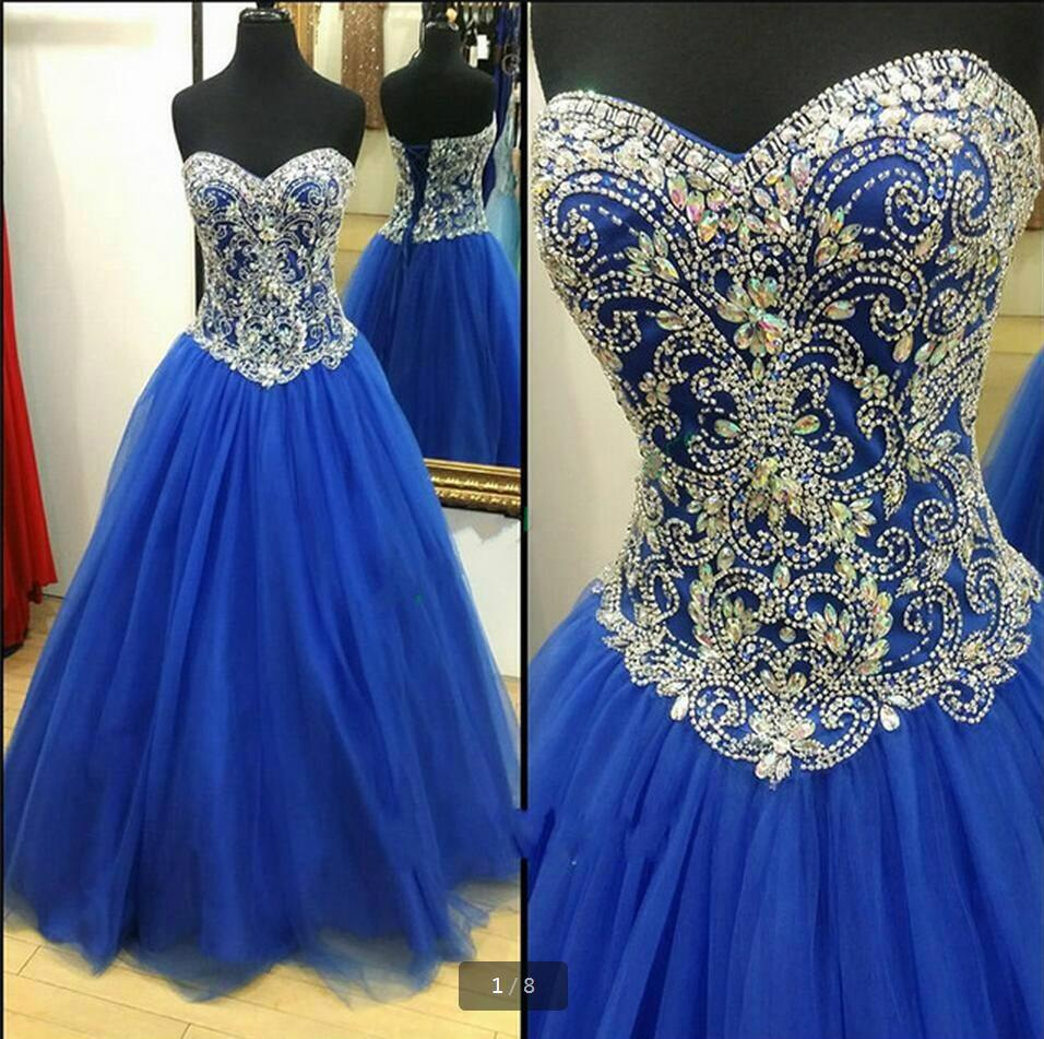 Royal blue heavily beading   Prom     Dresses   real picture crystals ball gown puffy   prom     dress   floor length   prom   gowns hot sale