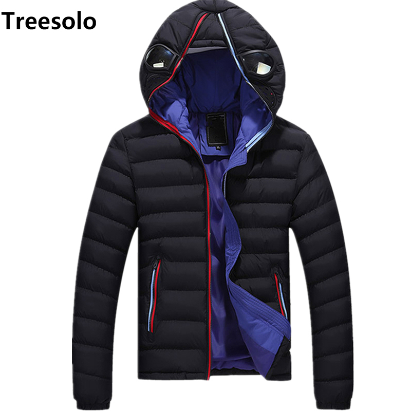 Winter Jacket Coats Padded Glasses Hooded Men Parka Warm Outwear Thick Casual And Zipper title=