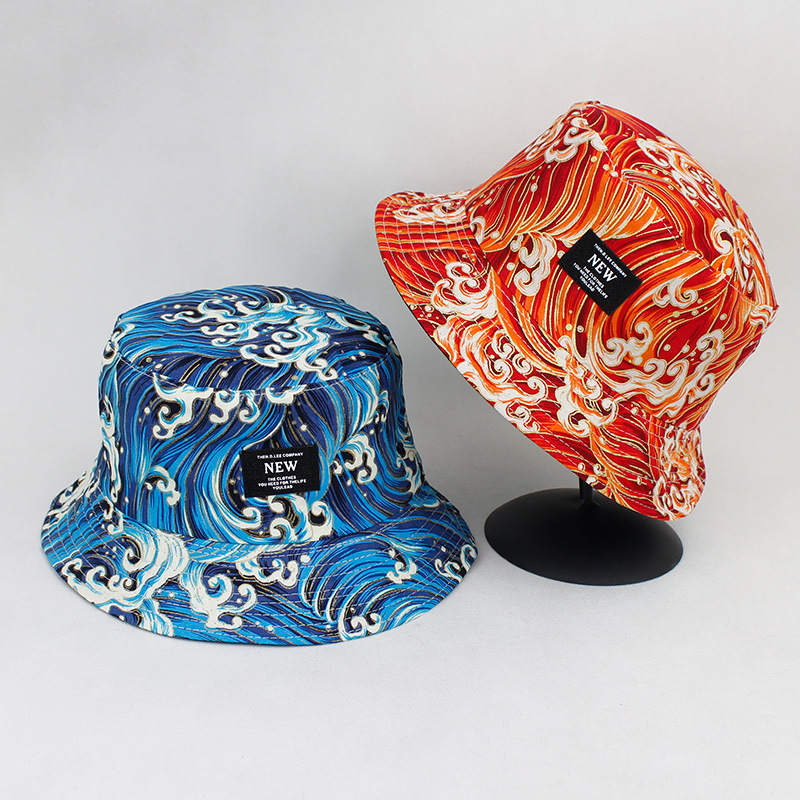 1ffc83fd4 2019 Cotton Koi fish print on both sides Bucket Hat Fisherman Hat ...