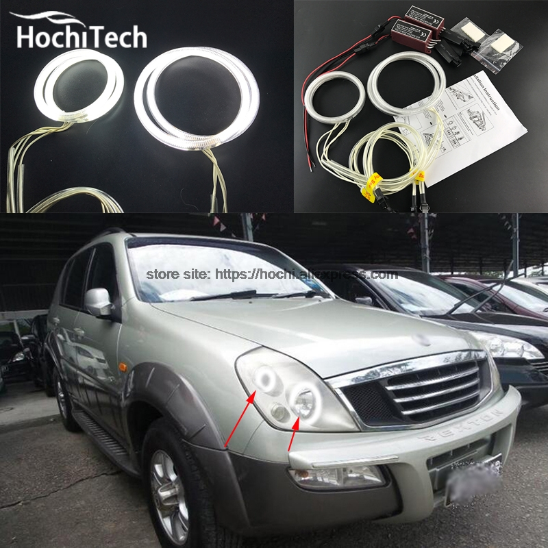 HochiTech WHITE 6000K CCFL Headlight Halo Angel Demon Eyes Kit angel eyes light for Ssangyong Rexton 2003 2004 2005 hochitech white 6000k ccfl headlight halo angel demon eyes kit angel eyes light for mustang 2015 2016 2017