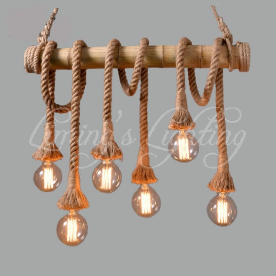 American Country Hemp Bamboo Chandelier Cafe Bamboo Chandelier Lamp Light Industrial Retro Clothing Store Restaurant american living room retro art chandelier nordic country antler chandelier clothing store villa candle lamp