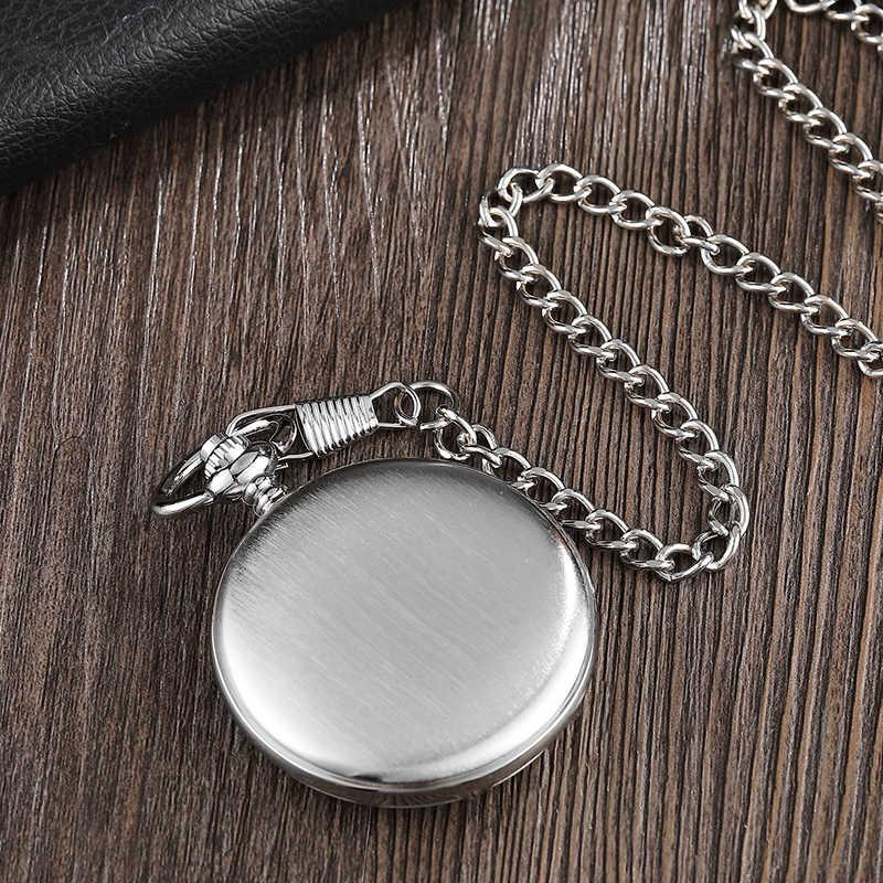 De Aço de prata Caso Suave Mão-winding Mecânica Pocket Watch Steampunk Algarismos Romanos Dial Homens Relógio Fob Cadeia Pendent Mulheres