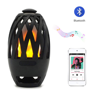 BTS 596 Bluetooth Speaker USB Charge Led Flame Lights Outdoor Portable Led Flame Torch Atmosphere Lamp for Camping,Bedside,Table