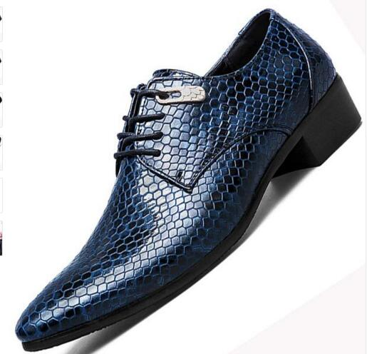 Snake Leather Men Oxford Shoes Lace Up Casual Business Men Pointed Shoes Brand Men Wedding Men Dress Boat Shoes Men's Casual Shoes
