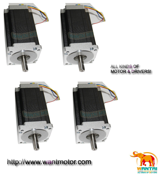 (Free Ship to EU,USA& USA Ship) 4PCS 3D Printer CNC Nema 34 Dual Shafts Wantai stepper motor 1600OZ,3.5A,2ph, 85BYGH450C-012B usa ship