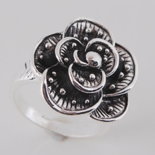 Msyo Fashion Vintage Jewelry Antique Silver Plated Retro Big Flower Ring For Women Punk Style Bijoux Anel
