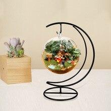O. RoseLif шарик ручной работы ваза Сердце Луна железный Стенд простой стильный подвесной стеклянный завод ваза домашний декор Хэллоуин