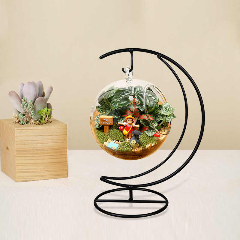 O.RoseLif  Handmade Ball Vase Heart Moon Iron Stand Simple Stylish Hanging Glass  Plant Vase Home Decor halloween