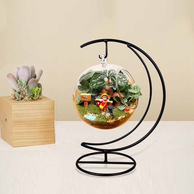 O.RoseLif New  Handmade Ball Vase Heart Moon Iron Stand Simple Stylish Hanging Glass  Plant Vase Home Decor halloween
