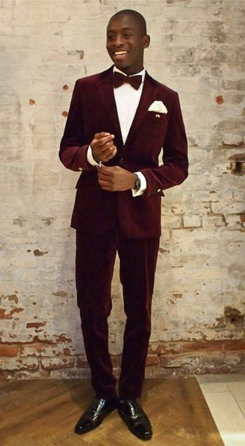 New Tailor Made Burgundy Velvet Groom Tuxedos 2 Piece Slim Fit Mens ...