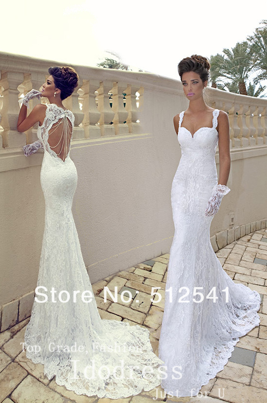 Best Selling Lace Wedding Dresses Mermaid Trumpet Spaghetti Straps ...