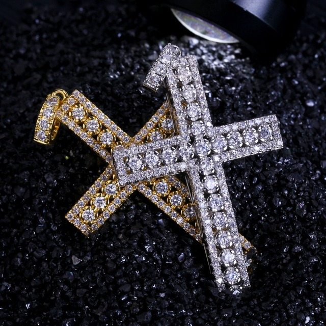 TOPGRILLZ Hip Hop Rock Male Female Jewelry Necklace Gold/Silver Color Iced Out Micro Pave Cubic Zircon Cross Pendant Necklaces