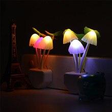Light Sensor Novelty Mushroom Night Light AC110V AV220V Color Changeable Mushroom LED Light Bedside Lamp for